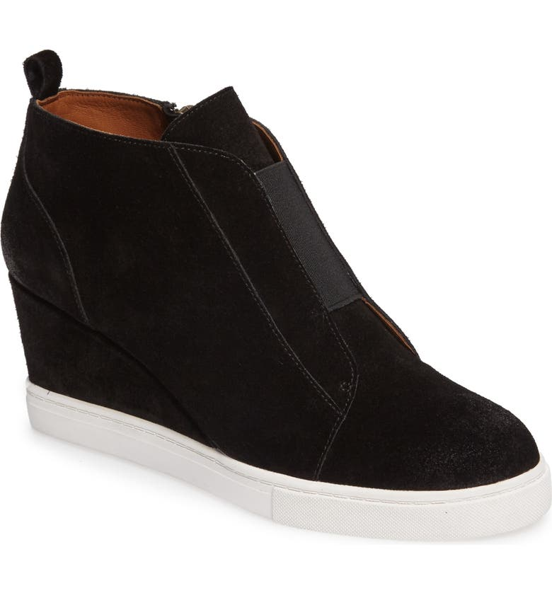 LINEA PAOLO Felicia Wedge Bootie, Main, color, BLACK SUEDE