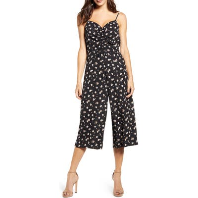 Row A Sleeveless Cinch Front Jumpsuit, Black