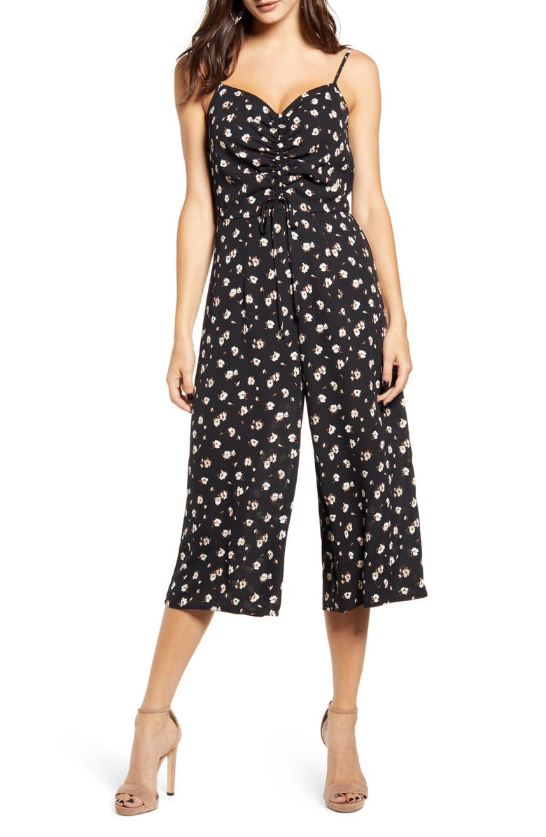 ROW A Sleeveless Cinch Front Jumpsuit, Main, color, BLACK