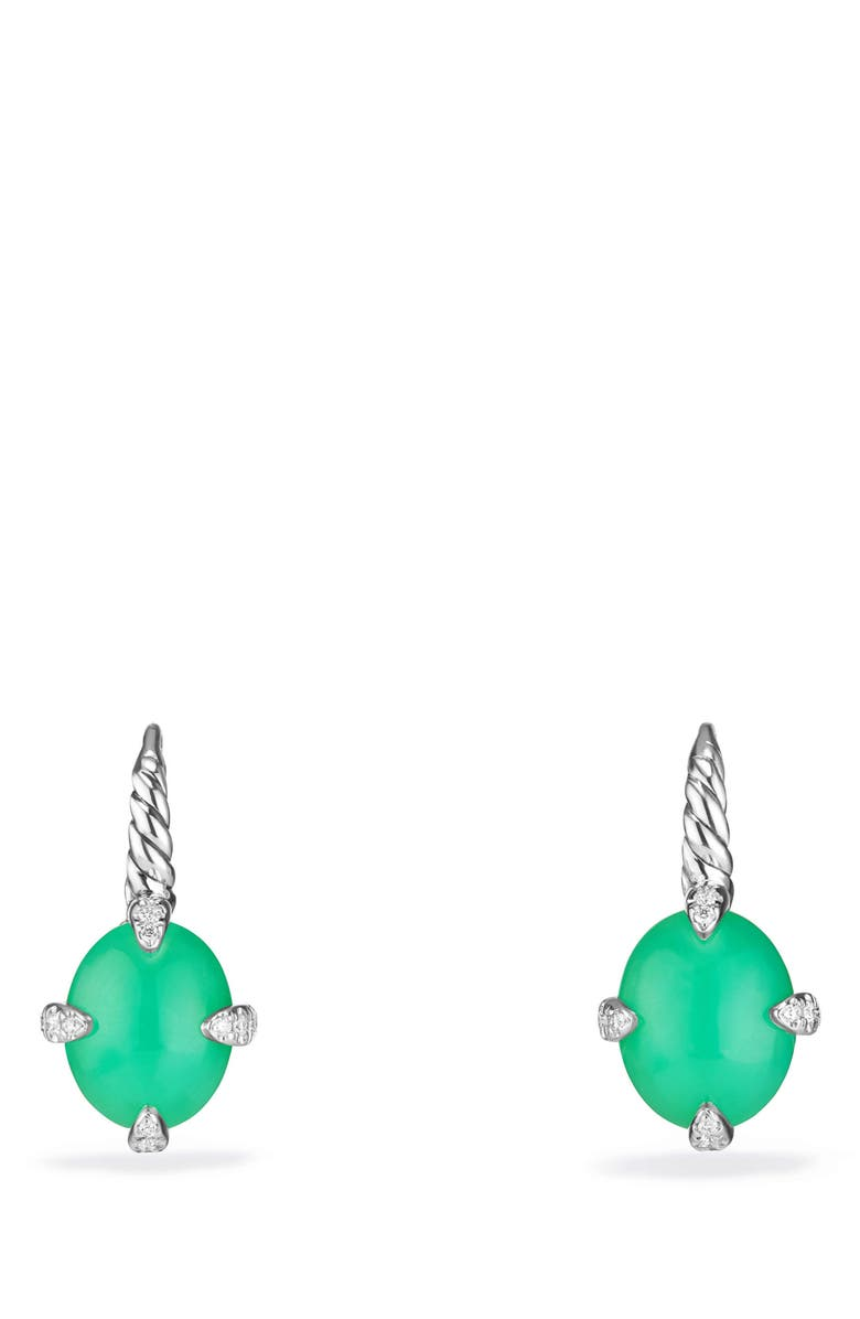 DAVID YURMAN Chatelaine<sup>®</sup> Gemstone and Diamond Drop Earrings, Main, color, SILVER/ DIAMOND/ CHRYSOPRASE