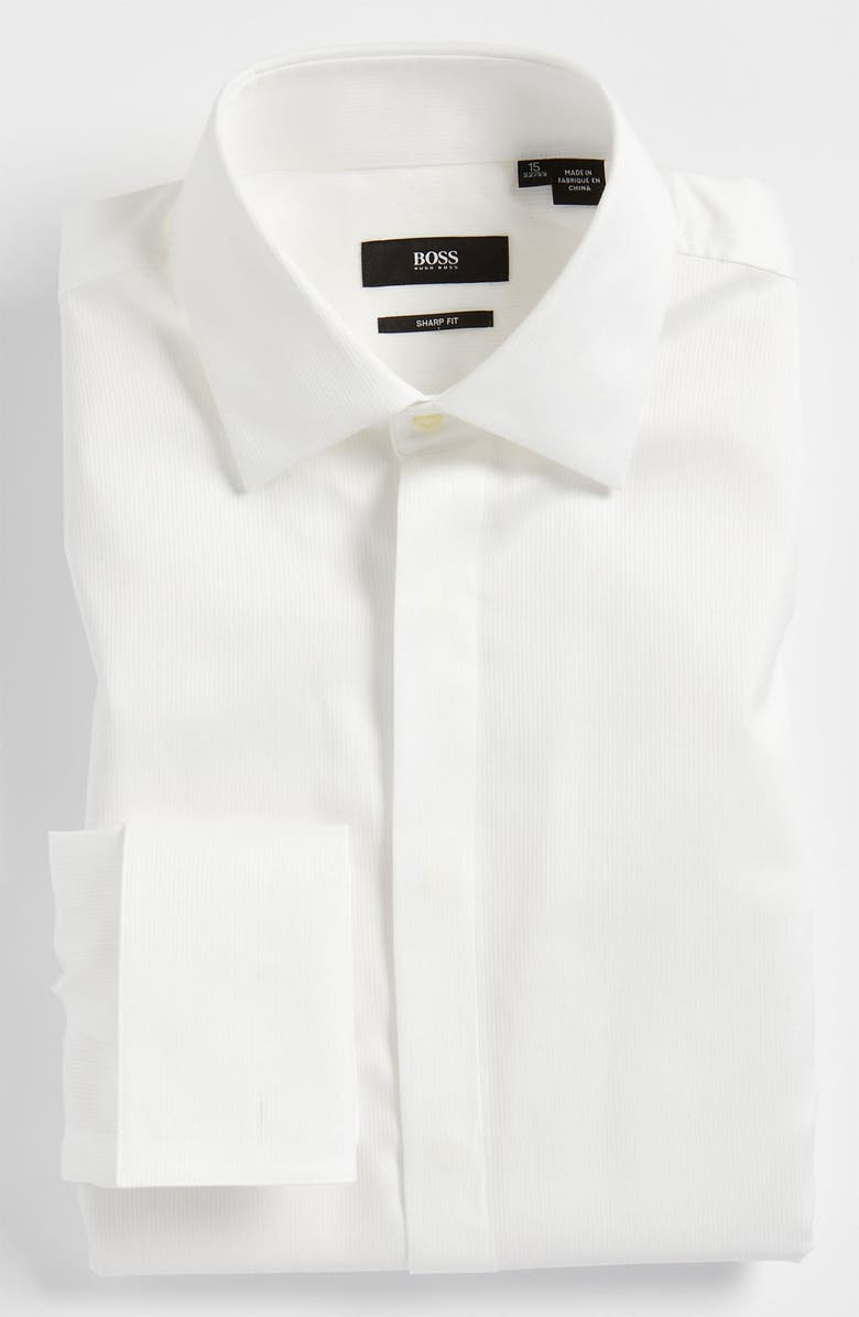 BOSS 'Marlyn' Sharp Fit Stripe French Cuff Tuxedo Shirt, Main, color, 100