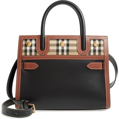 Burberry Baby Title Leather Bag - Black
