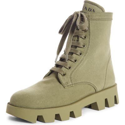 Prada Lugged Combat Boot - Green