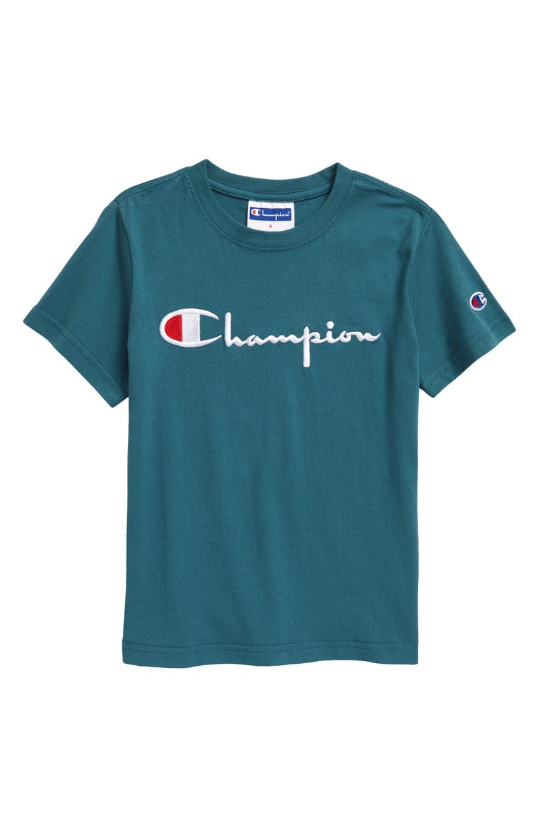 CHAMPION Kids' Embroidered Script Logo T-Shirt, Main, color, PRESTIGE BLUE