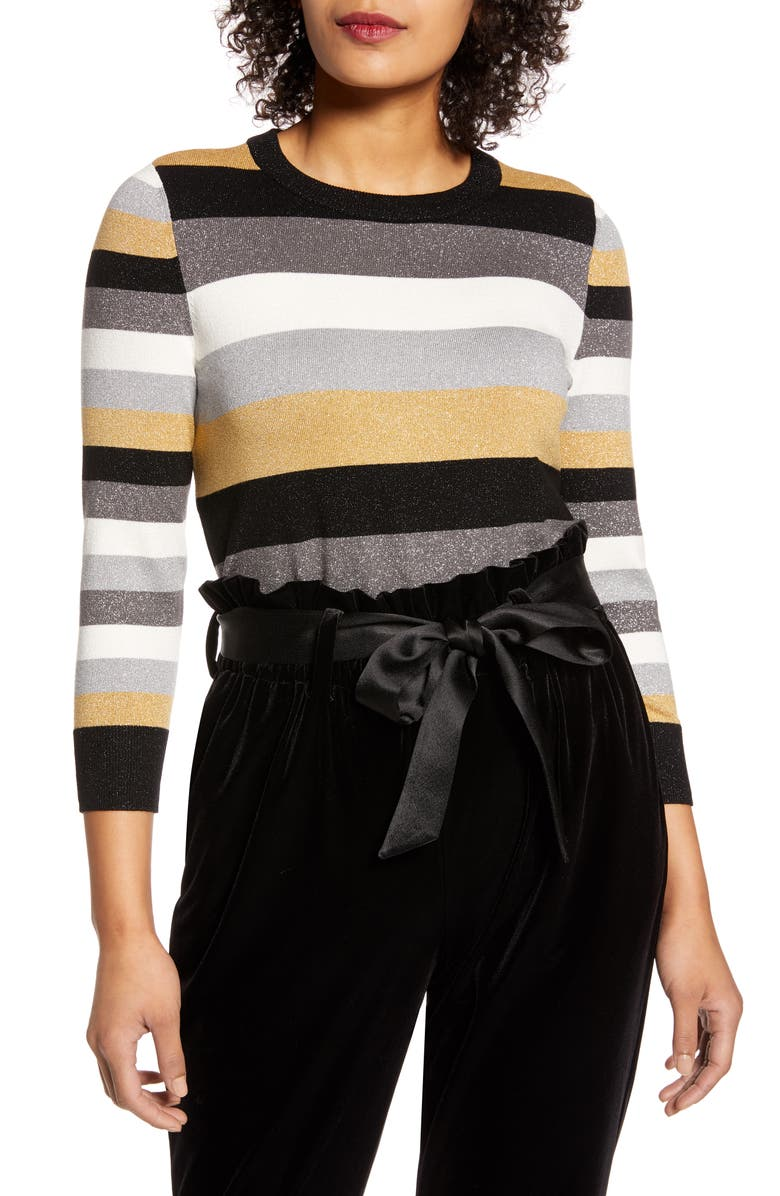 HALOGEN<SUP>®</SUP> x Atlantic-Pacific Metallic Sweater, Main, color, BLACK- METALLIC MARINA STRIPE