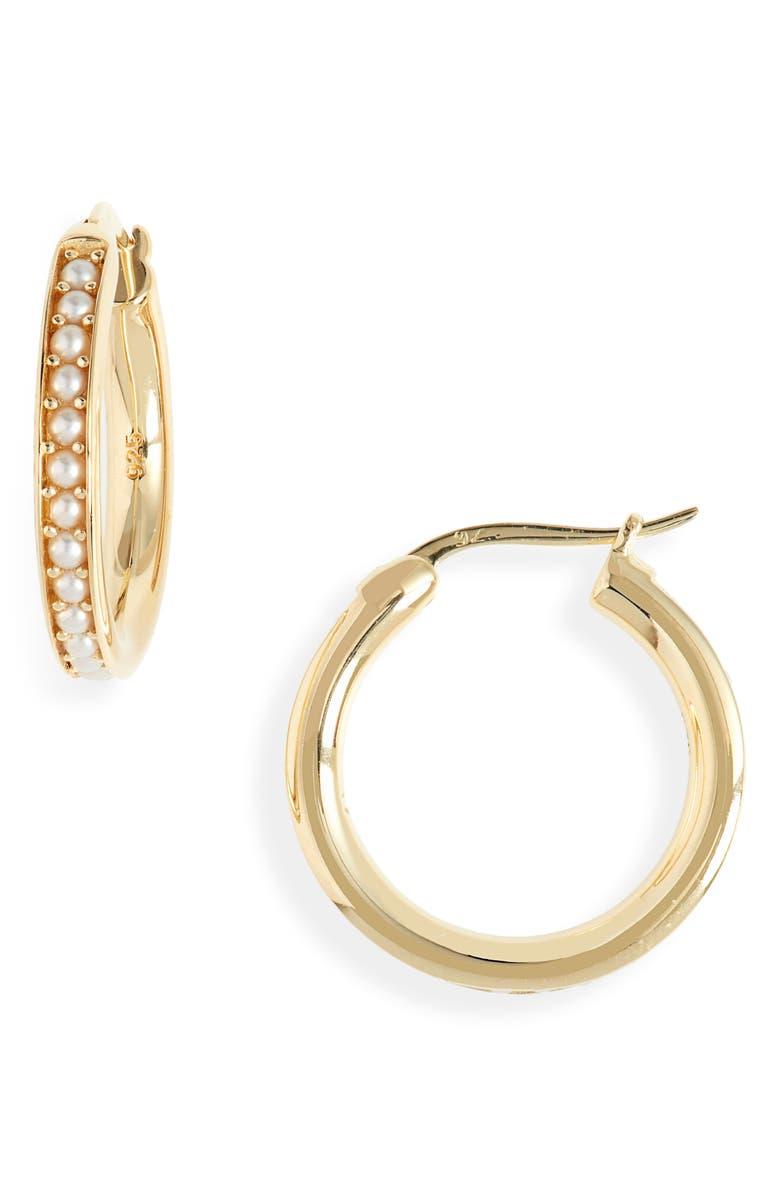 TOM WOOD Freshwater Pearl Hoop Earrings, Main, color, 925 STERLING SILVER/ 9K GOLD