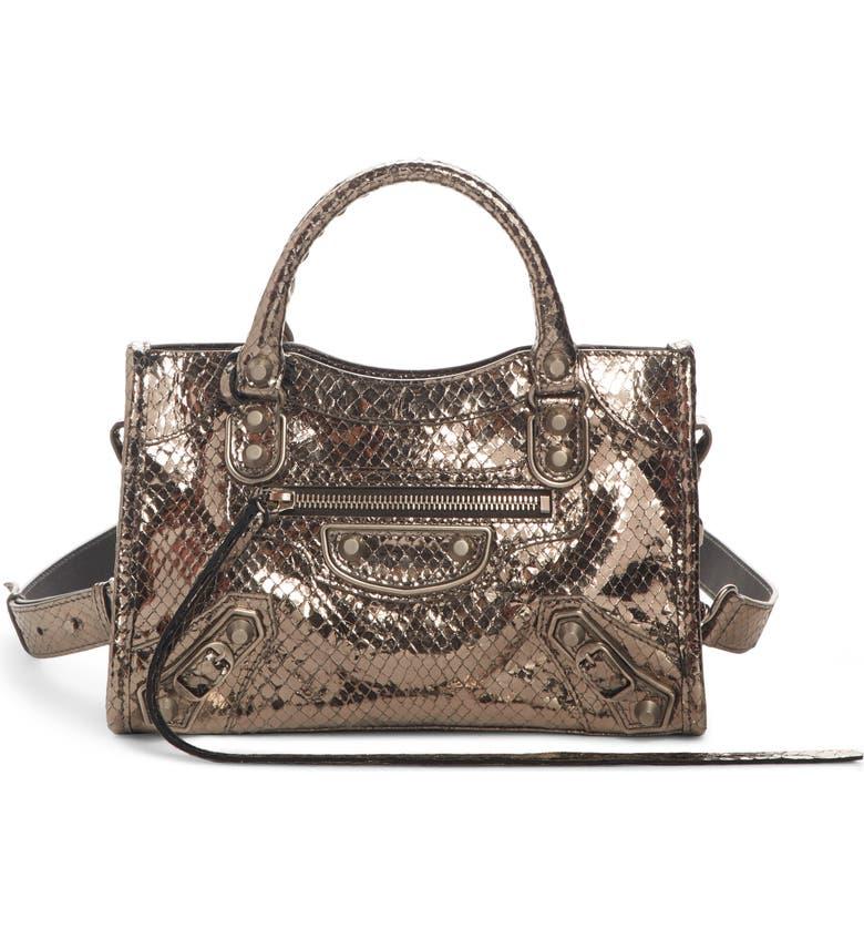 BALENCIAGA Metallic Mini City Croc Embossed Leather Bag, Main, color, METALLIC DARK GREY