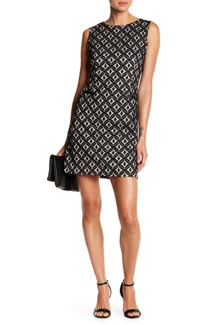 Image of Papillon Crochet Shift Dress With Faux Leather Trim