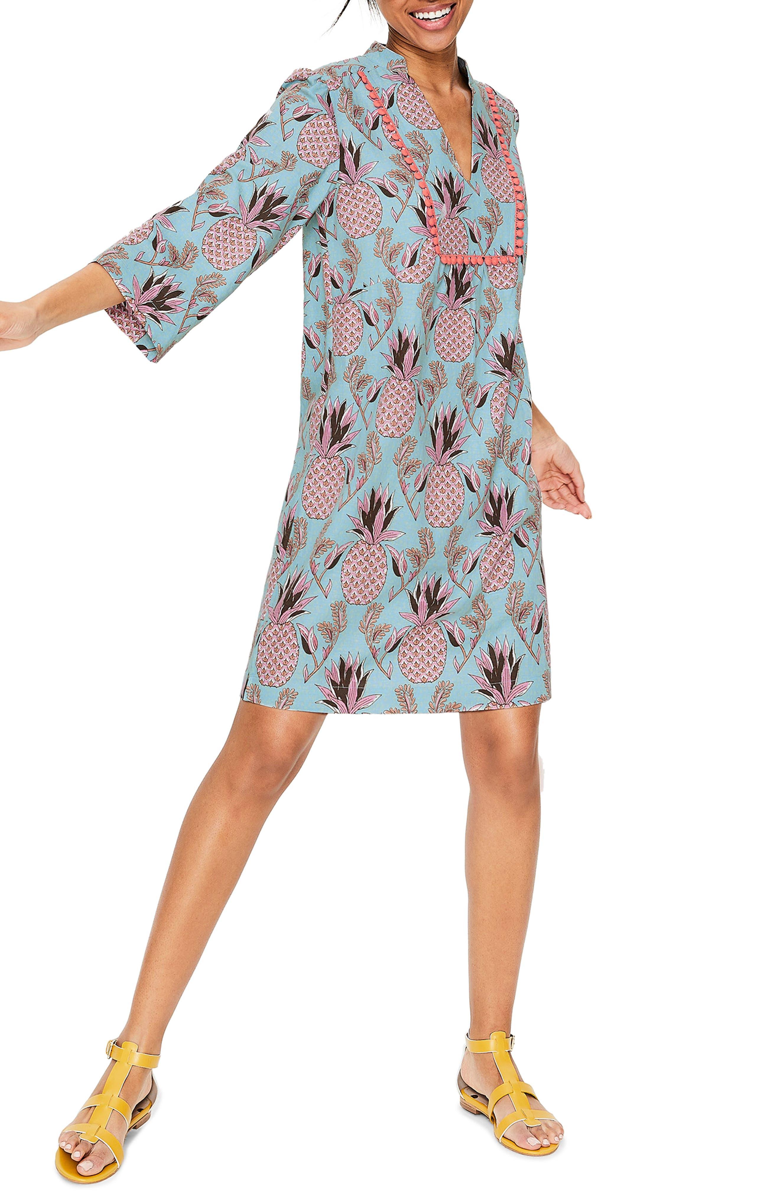 Boden Evangeline Linen Shift Dress, Blue