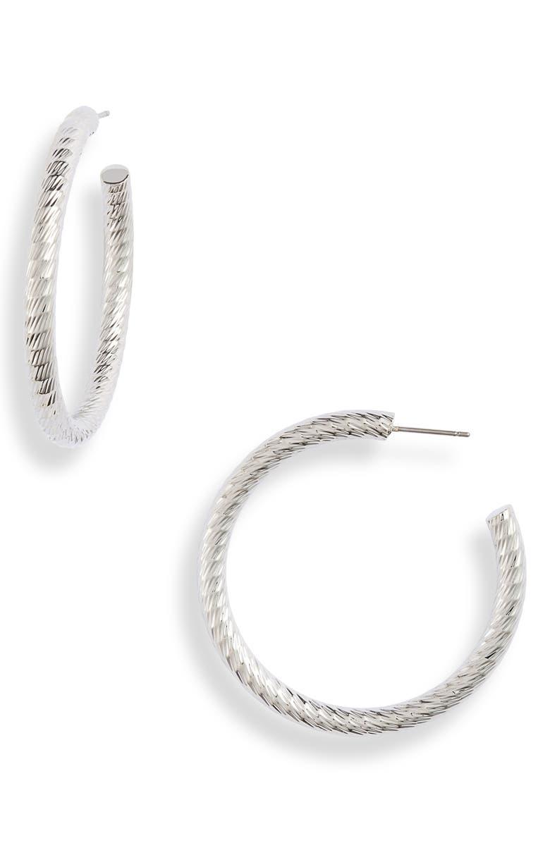 HALOGEN<SUP>®</SUP> Diamond Patterned Hoop Earrings, Main, color, RHODIUM