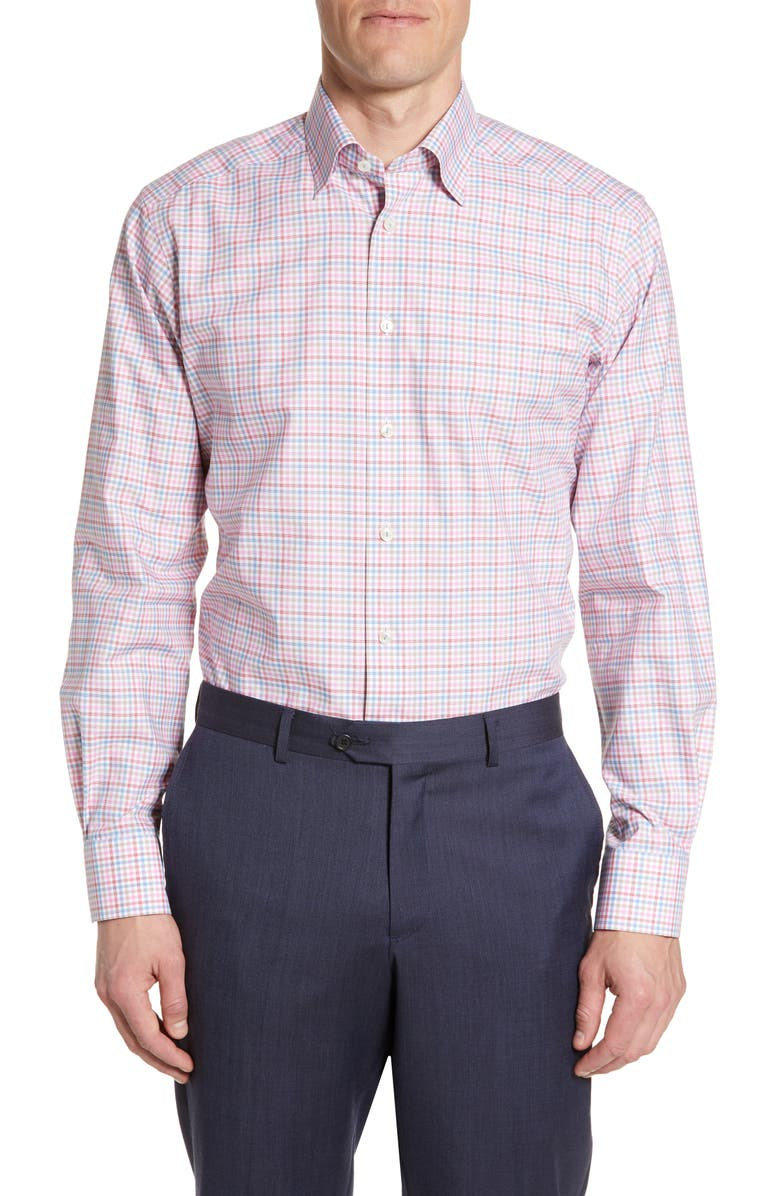 ETON Contemporary Fit Multi Check Dress Shirt, Main, color, RED/ PINK