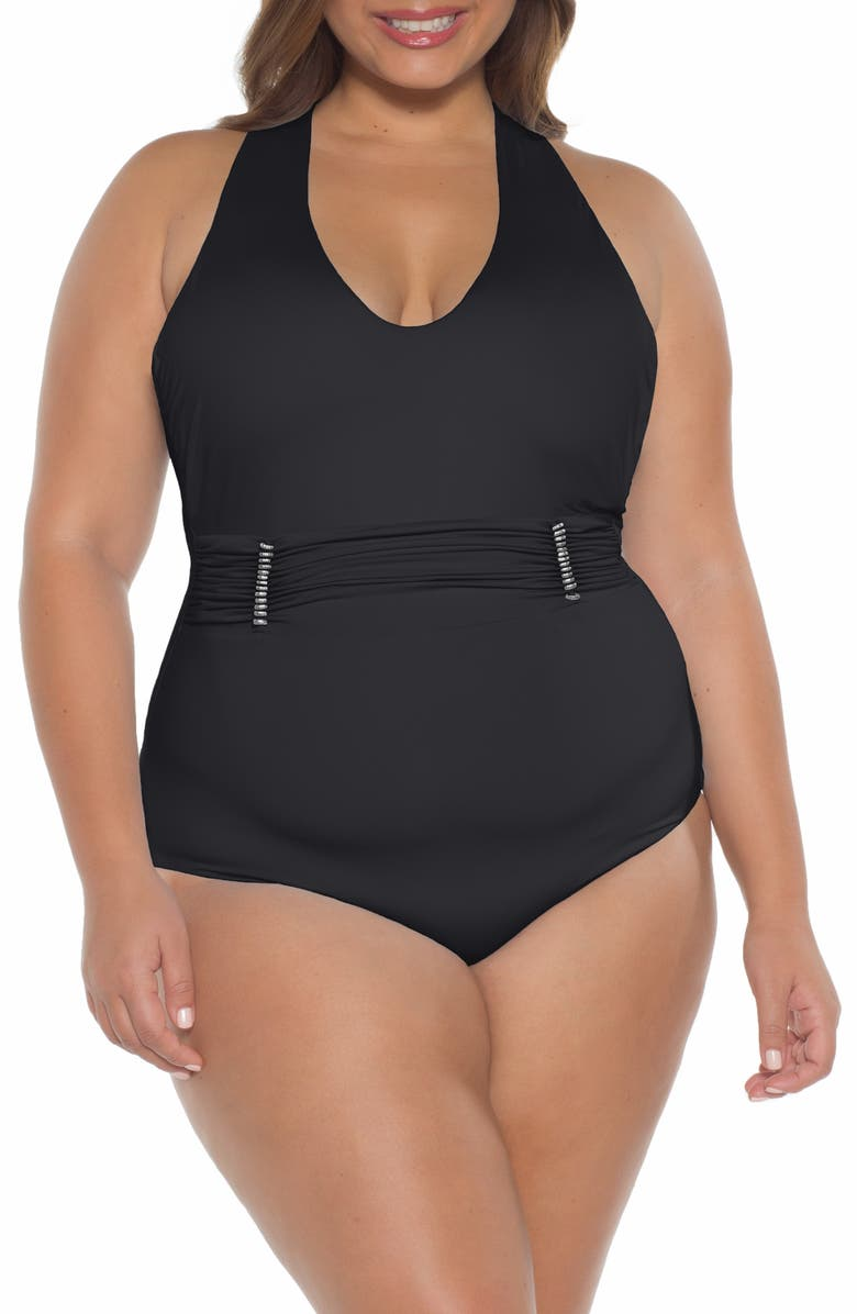 BECCA ETC. Reconnect One-Piece Swimsuit, Main, color, BLACK