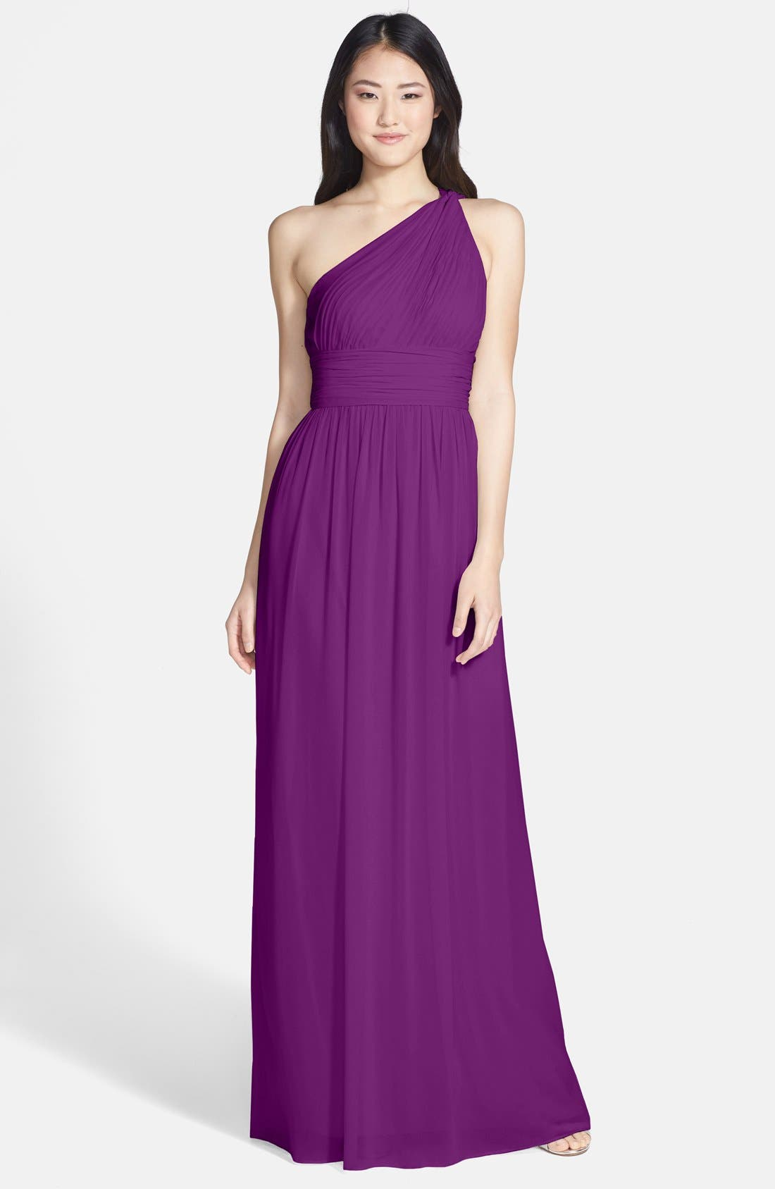 ,                             'Rachel' Ruched One-Shoulder Chiffon Gown,                             Main thumbnail 85, color,                             516