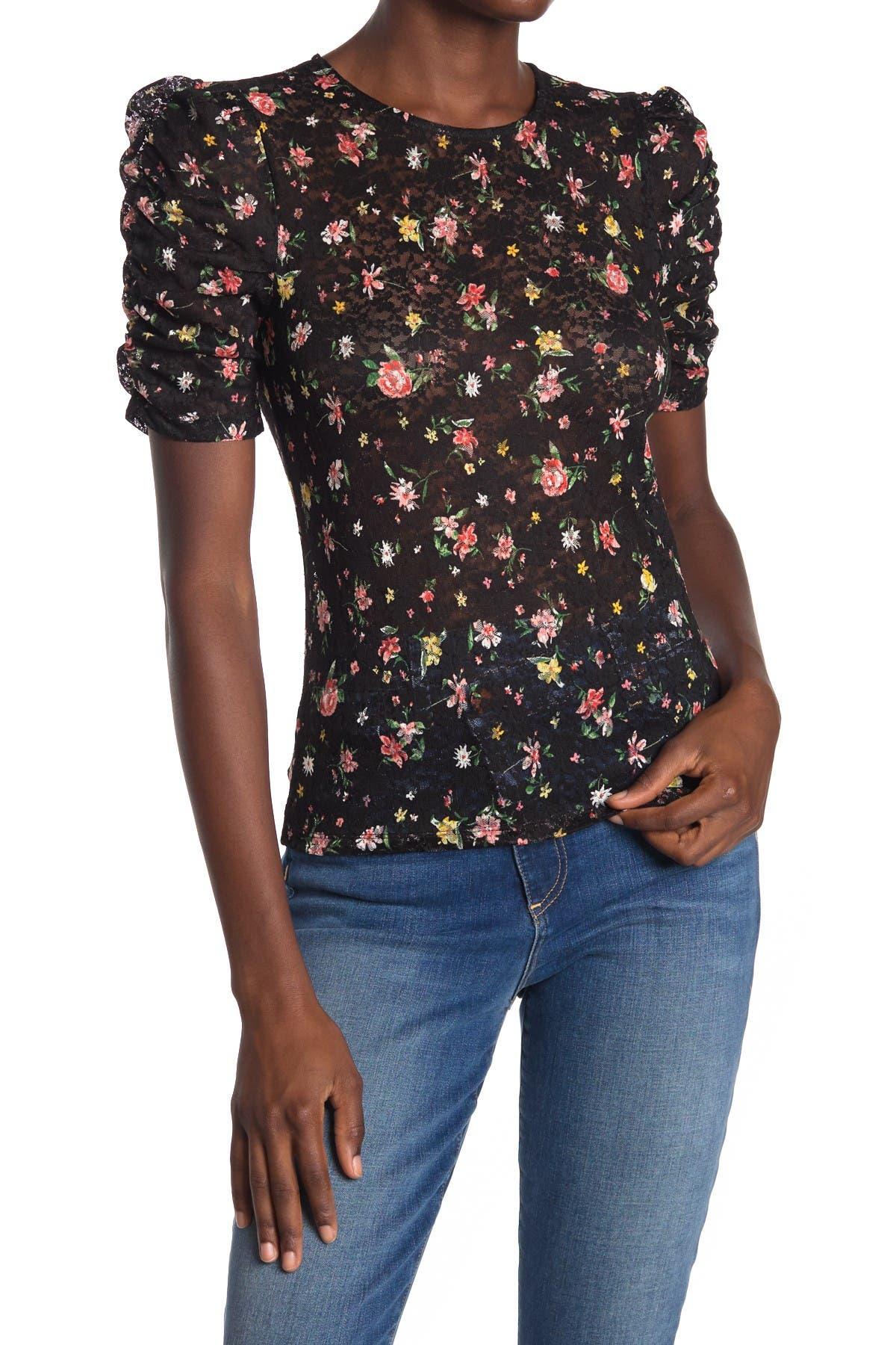 Image of Elodie Printed Lace Short Sleeve Top
