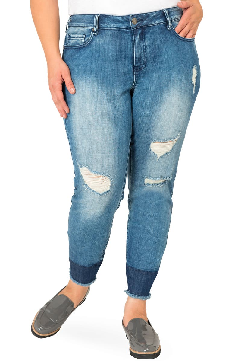 STANDARDS & PRACTICES Virginia Distressed Contrast Raw Hem Skinny Jeans, Main, color, BLUE