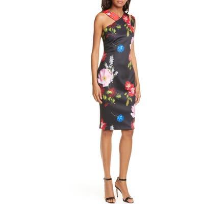 Ted Baker London Polayo Floral Asymmetrical Sheath Dress, Black