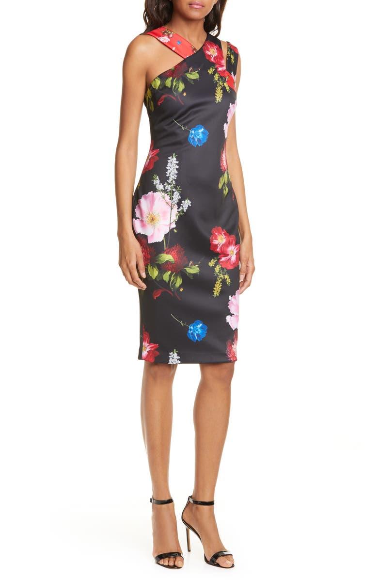 TED BAKER LONDON Polayo Floral Asymmetrical Sheath Dress, Main, color, BLACK