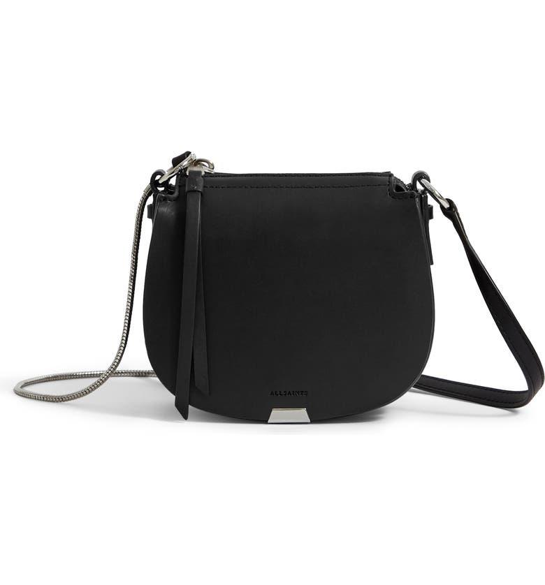 ALLSAINTS Mini Captain Leather Saddle Bag, Main, color, BLACK