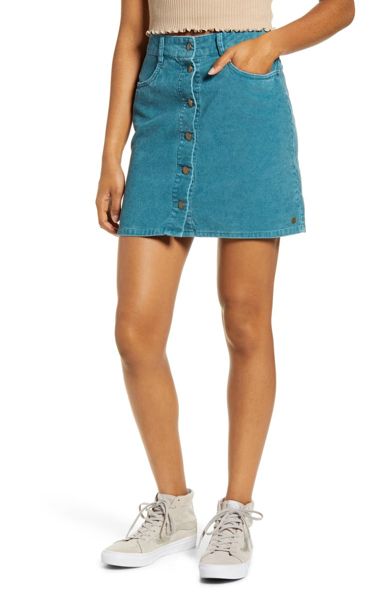 ROXY Unforgettable Fall Corduroy Miniskirt, Main, color, DRAGONFLY