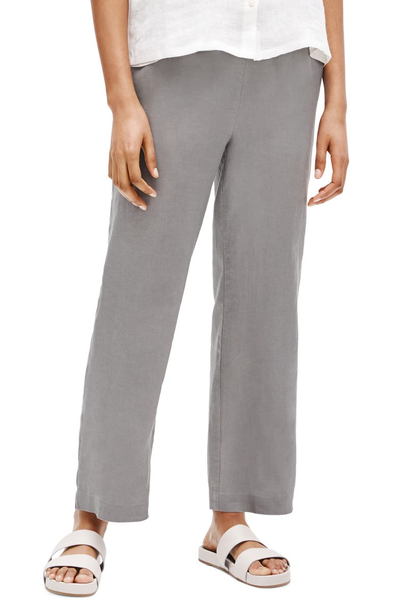 EILEEN FISHER Straight Leg Organic Linen Ankle Pants, Main, color, ZINC