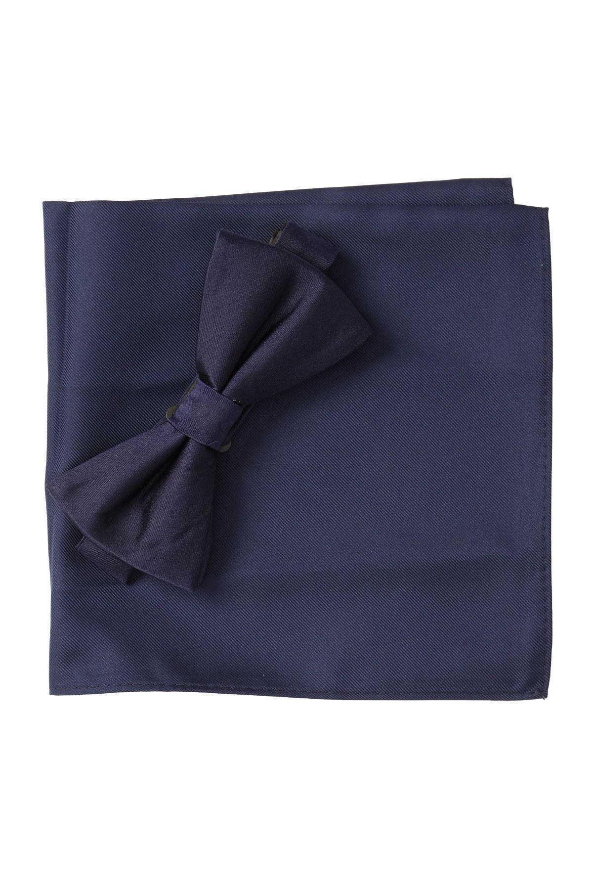 Image of Nordstrom Rack Solid Satin Combo Bow-Tie & Pocket Square Set