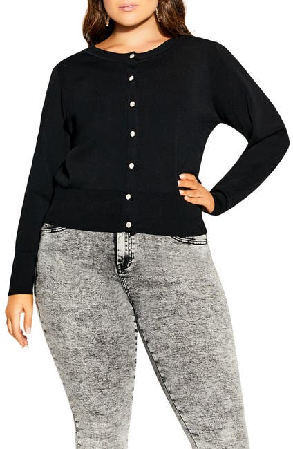 Image of City Chic Puff Shoulder Cardigan