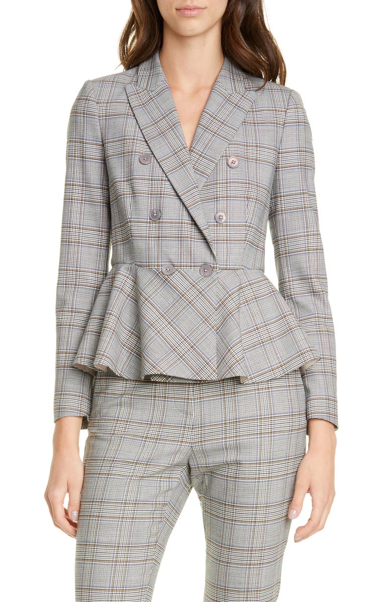 TAILORED BY REBECCA TAYLOR Plaid Peplum Jacket, Main, color, ROBINS EGG COMBO
