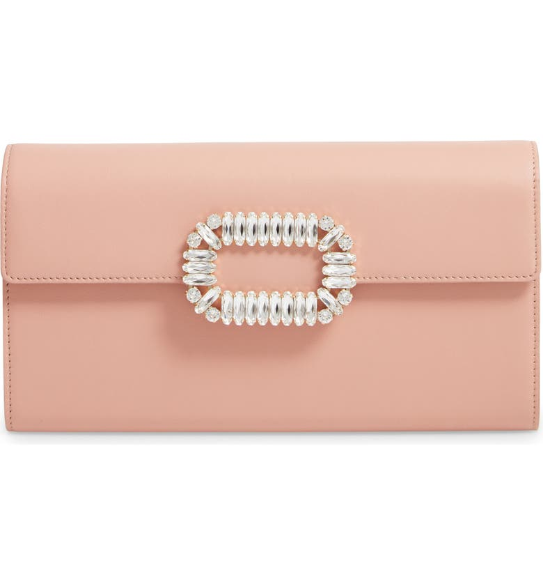 ROGER VIVIER Crystal Buckle Leather Envelope Clutch, Main, color, ROSA SALMONE