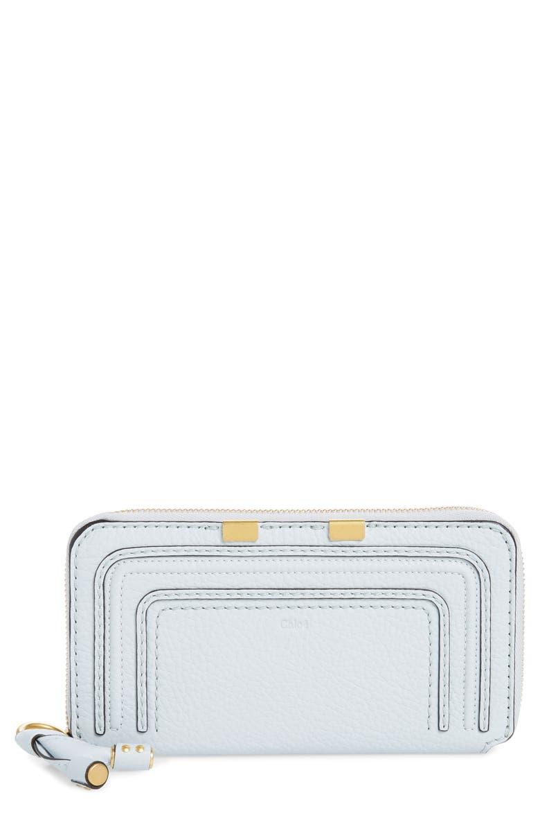 CHLOÉ 'Marcie - Long' Zip Around Wallet, Main, color, LIGHT CLOUD