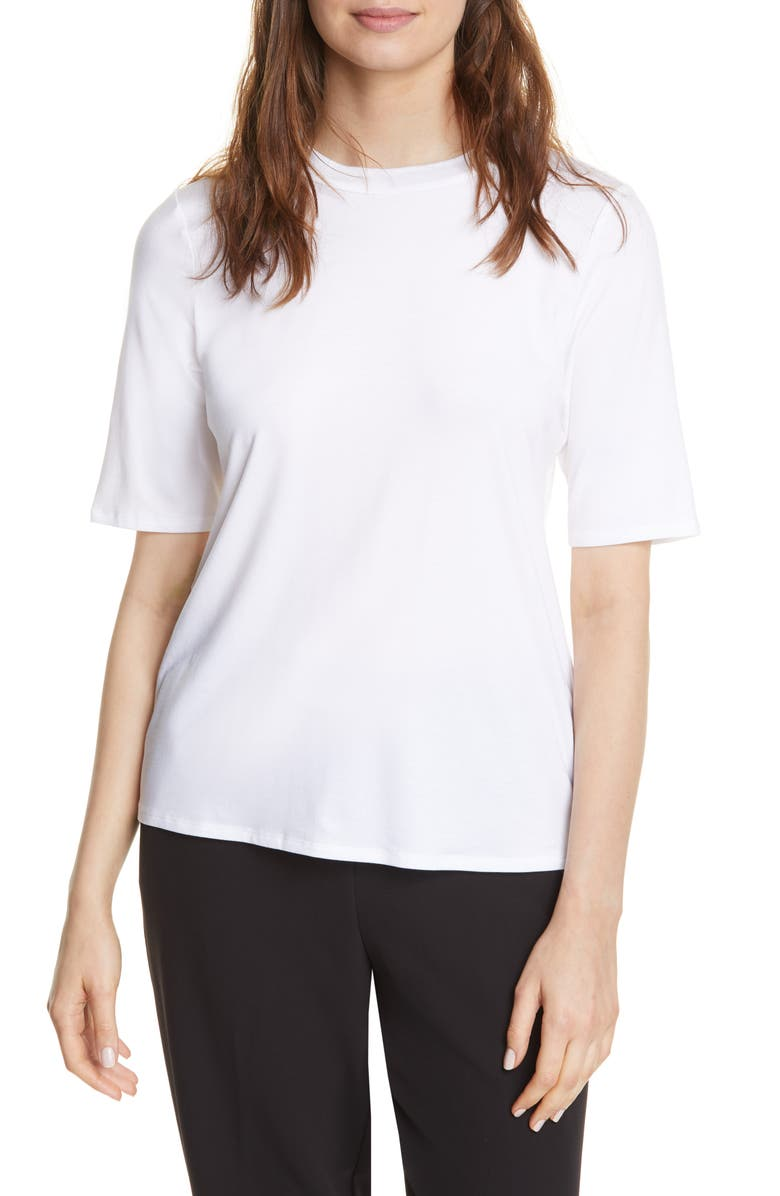EILEEN FISHER Stretch Tencel<sup>®</sup> Lyocell Tee, Main, color, WHITE