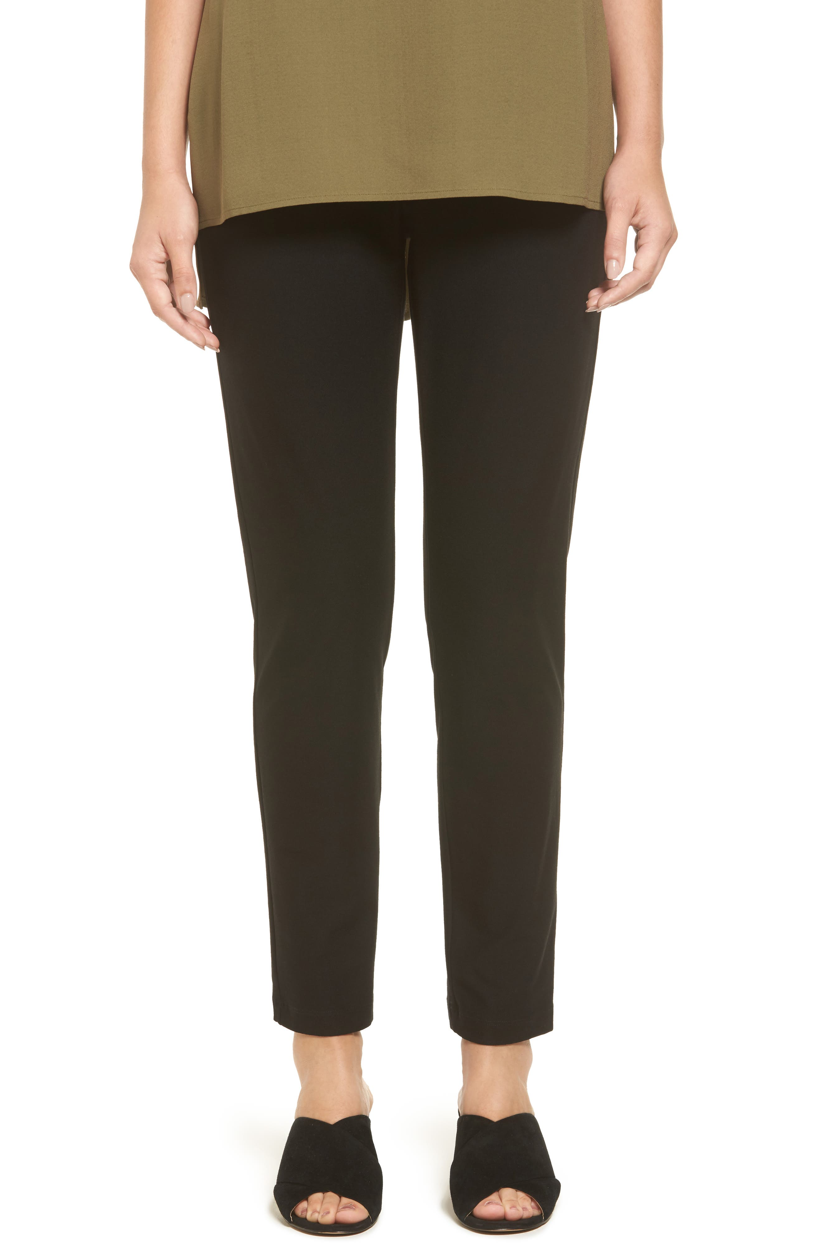 Women's Eileen Fisher Stretch Crepe Slim Ankle Pants,  XX-Small - Black