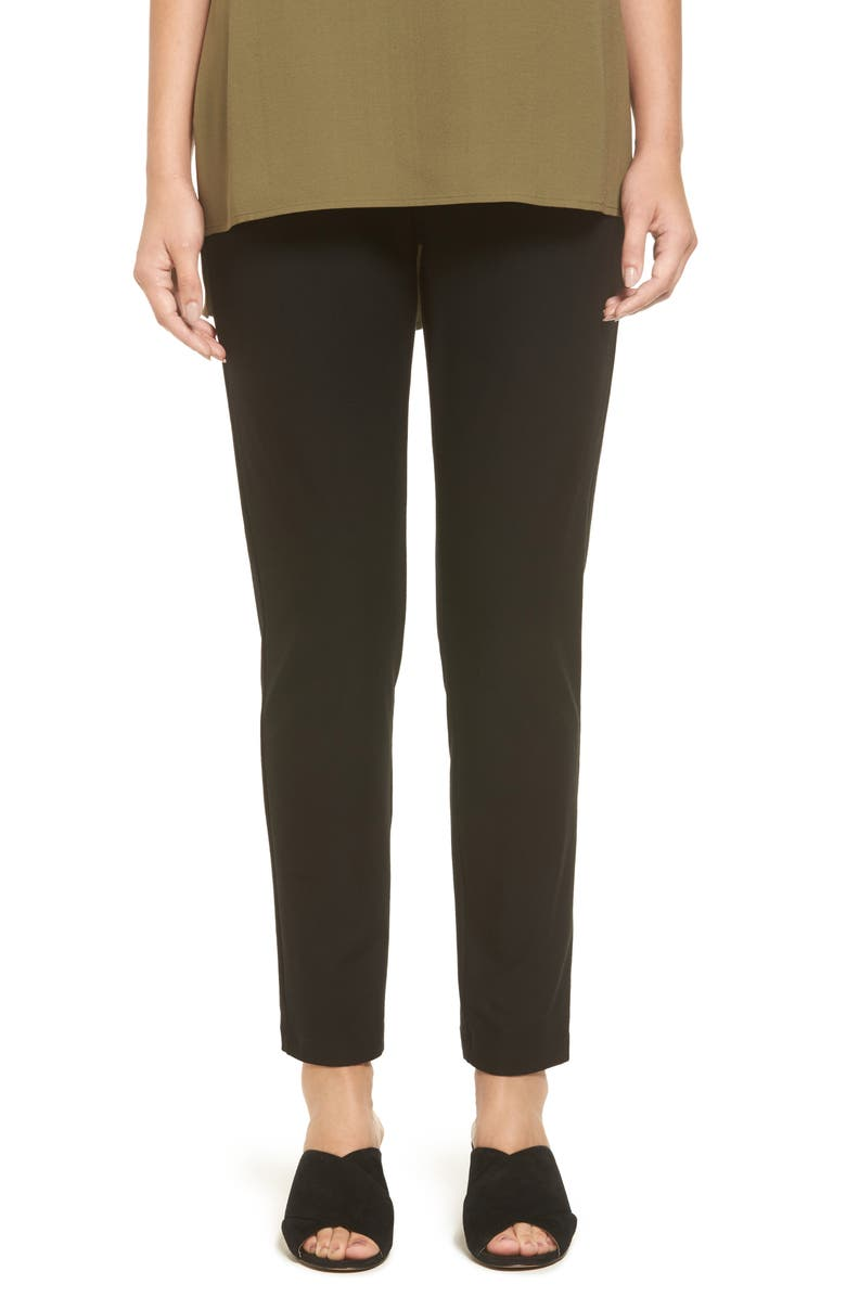 EILEEN FISHER Stretch Crepe Slim Ankle Pants, Main, color, BLACK