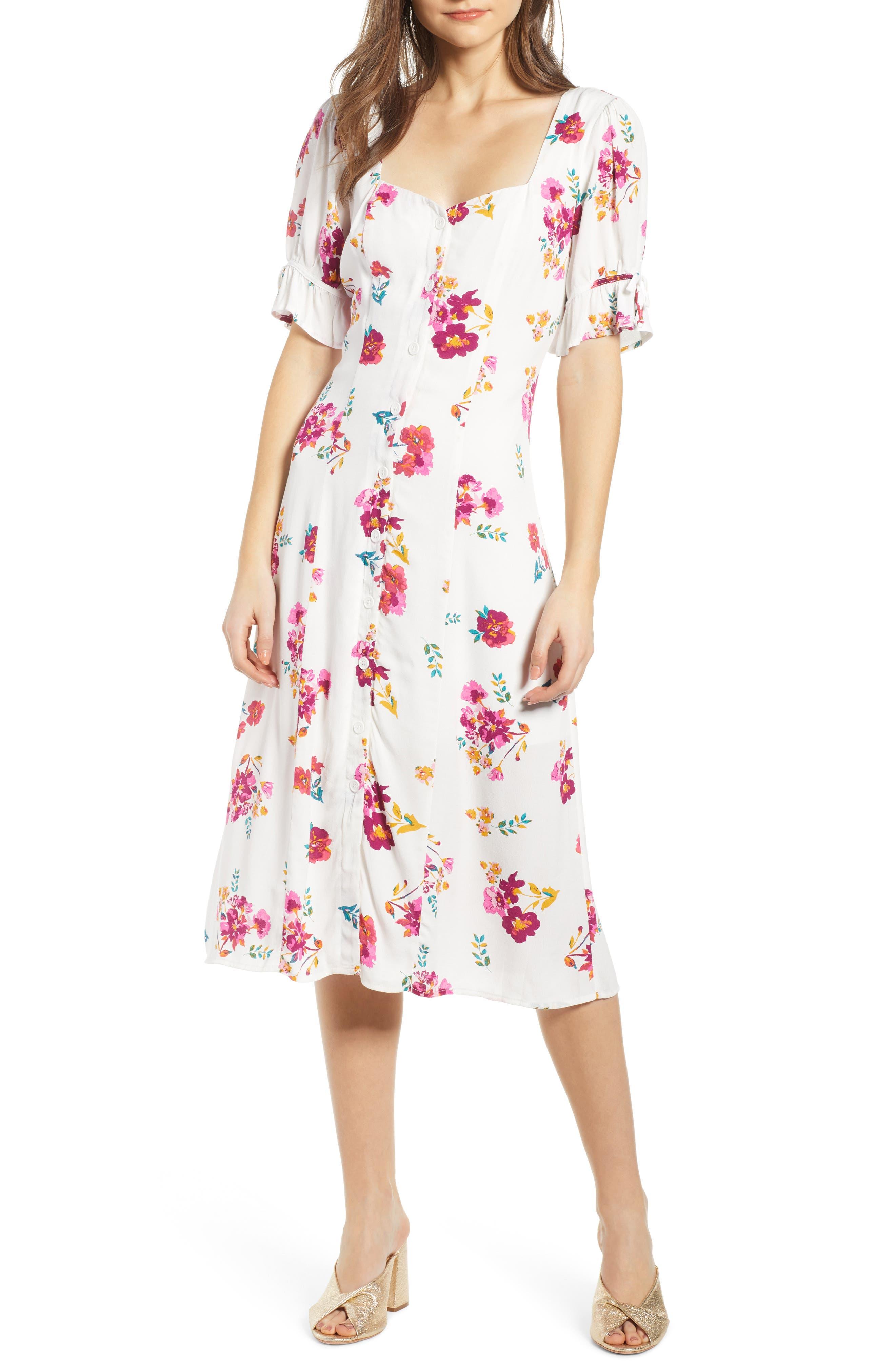 ,                             Floral Print Midi Dress,                             Main thumbnail 1, color,                             WHITE MULTI FLORAL