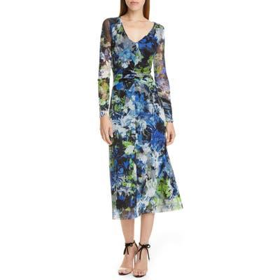 Fuzzi Floral Print Long Sleeve Ruched Midi Dress, Black