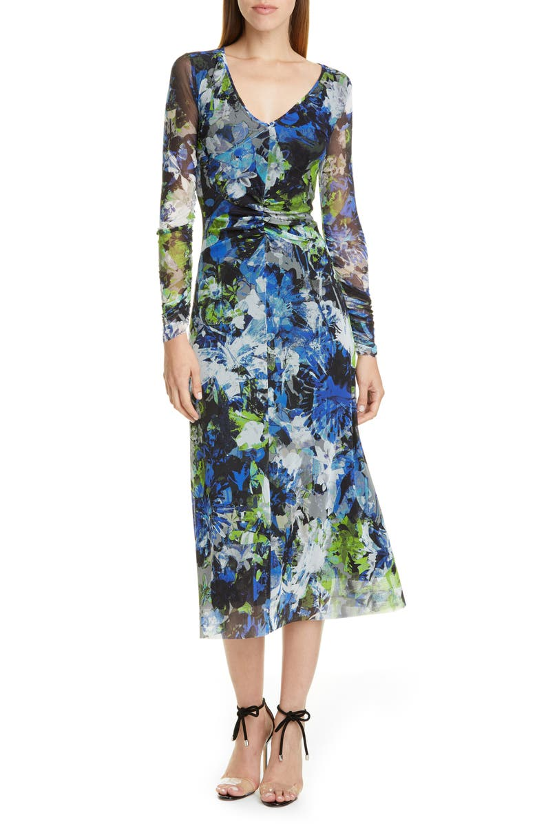 FUZZI Floral Print Long Sleeve Ruched Midi Dress, Main, color, NERO