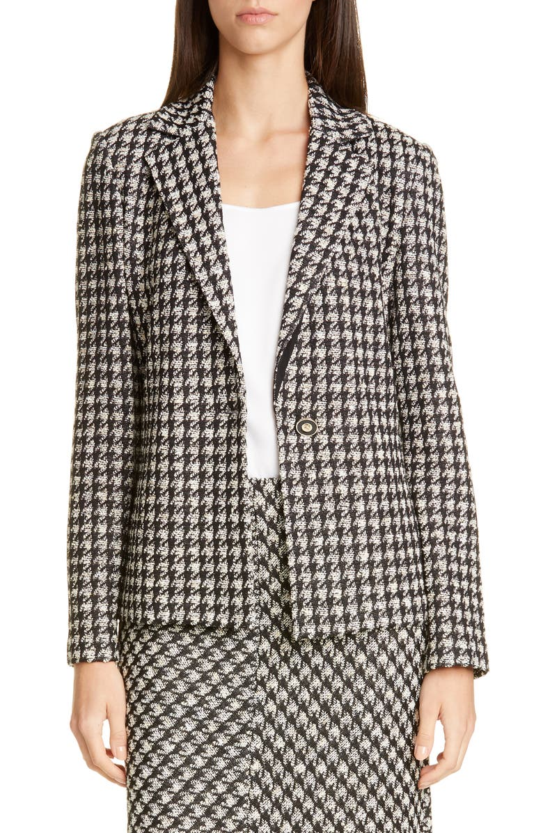 ST. JOHN COLLECTION Textured Bouclé Houndstooth Knit Jacket, Main, color, CAVIAR/ CREAM MULTI