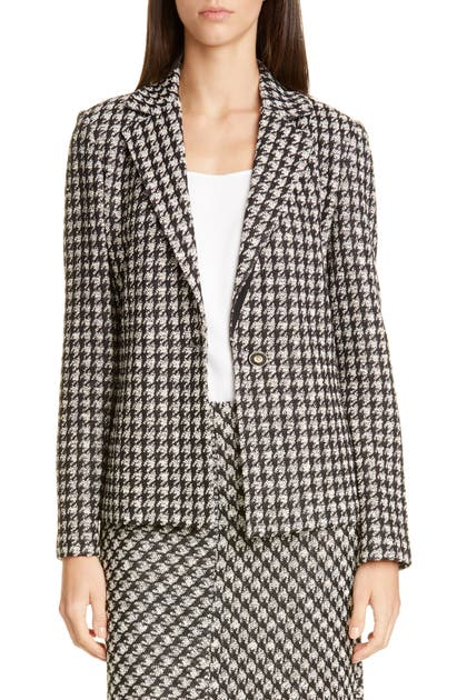 St. John Jackets TEXTURED BOUCLE HOUNDSTOOTH KNIT JACKET