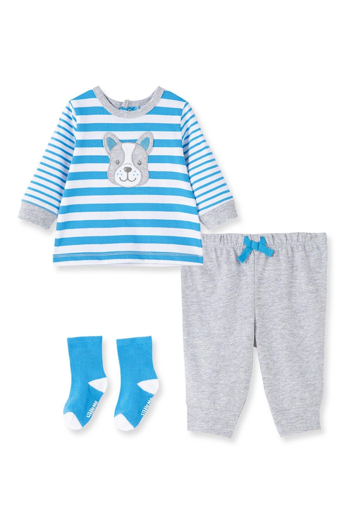 Image of Little Me Doggy Striped Shirt, Joggers, & Socks Set