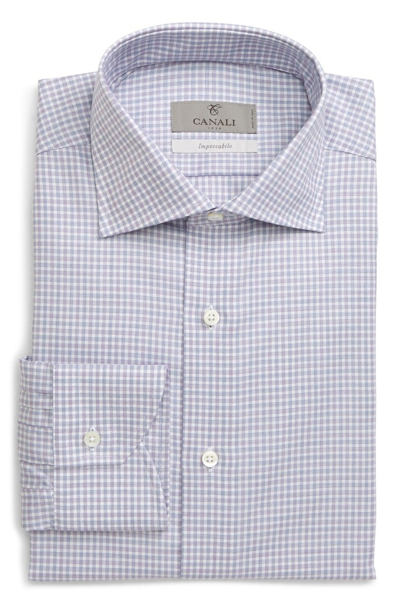 CANALI Regular Fit Plaid Dress Shirt, Main, color, PURPLE