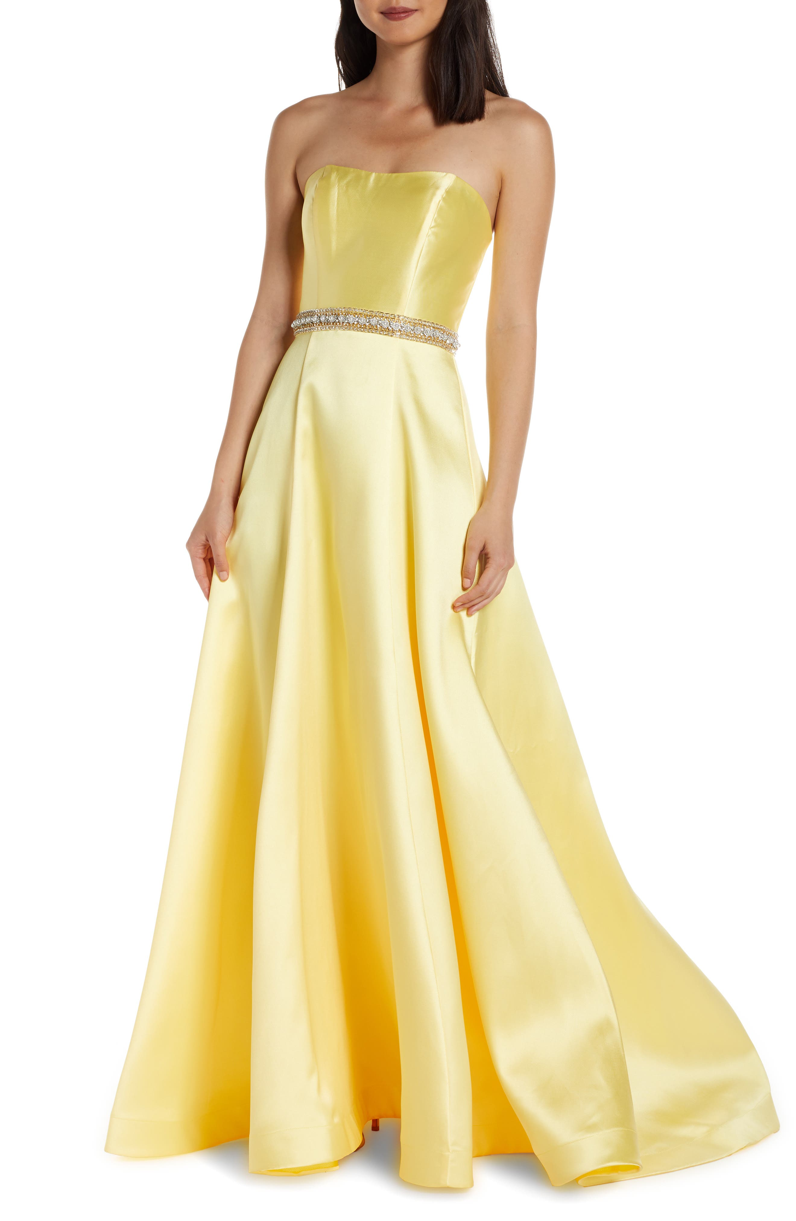 MAC Duggal Strapless A-Line Prom Dress With Crystal Embellished Waist, Yellow