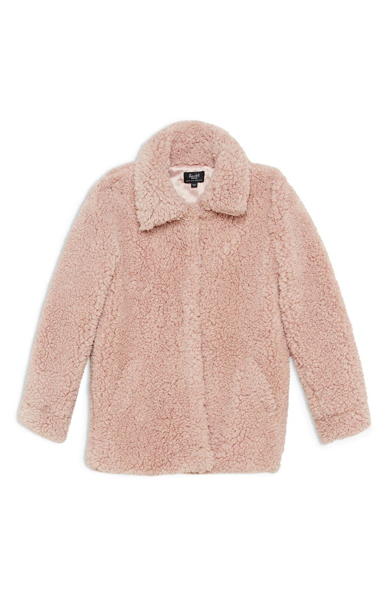 BARDOT JUNIOR Milly Teddy Bear Jacket, Main, color, PINK