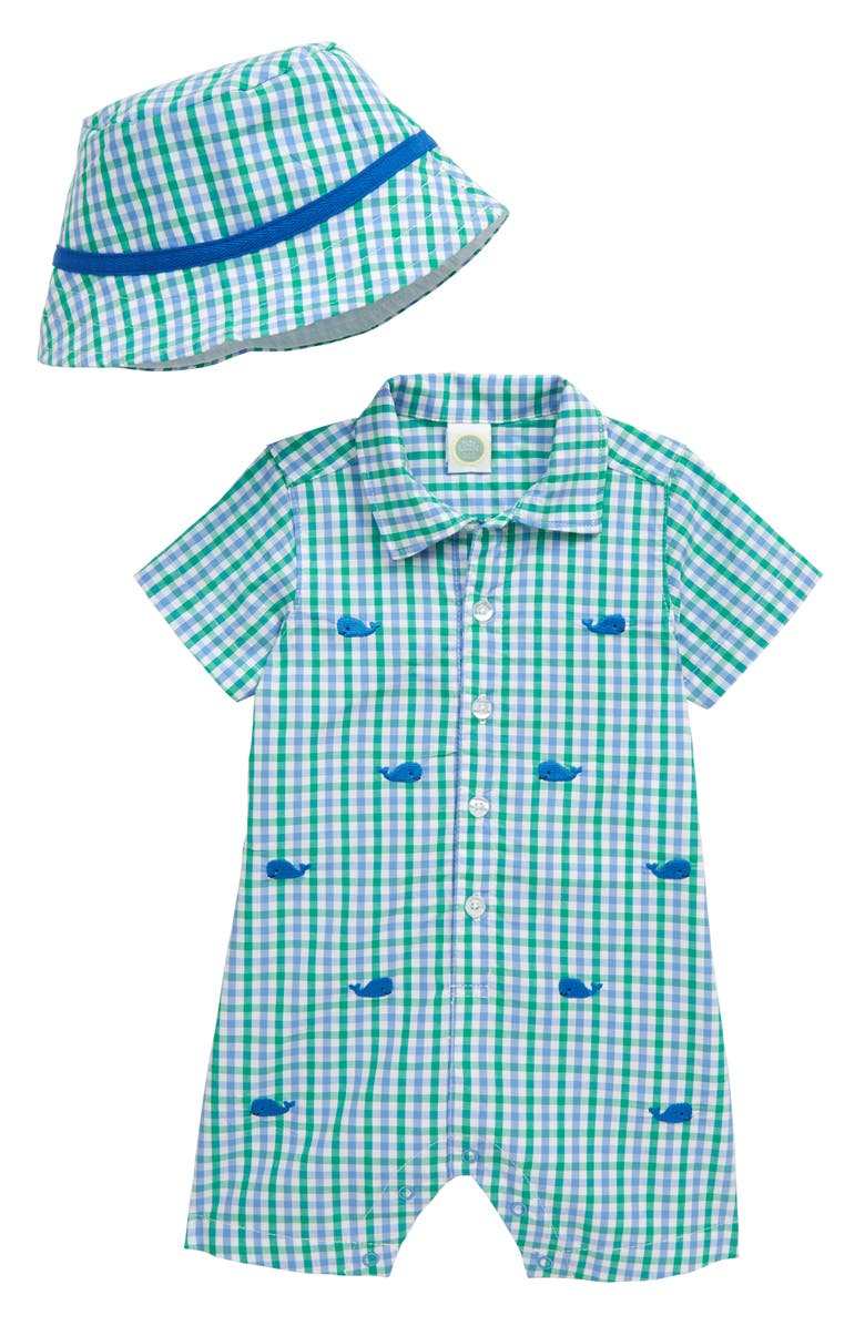LITTLE ME Whale Romper & Hat, Main, color, 300