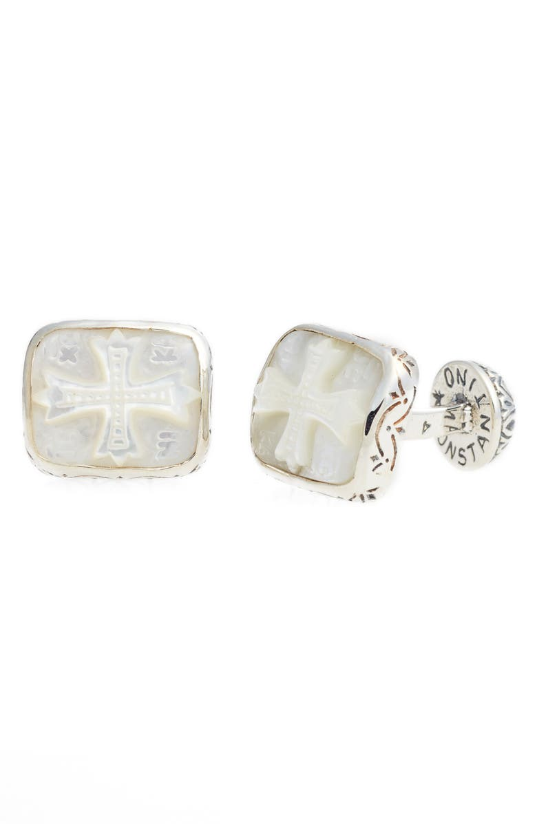 KONSTANTINO Color Classics Cuff Links, Main, color, SILVER/ MOTHER OF PEARL