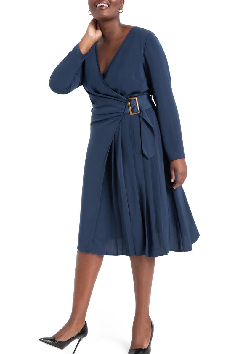 ELOQUII Buckly Long Sleeve Wrap Dress, Main, color, DRESS BLUES