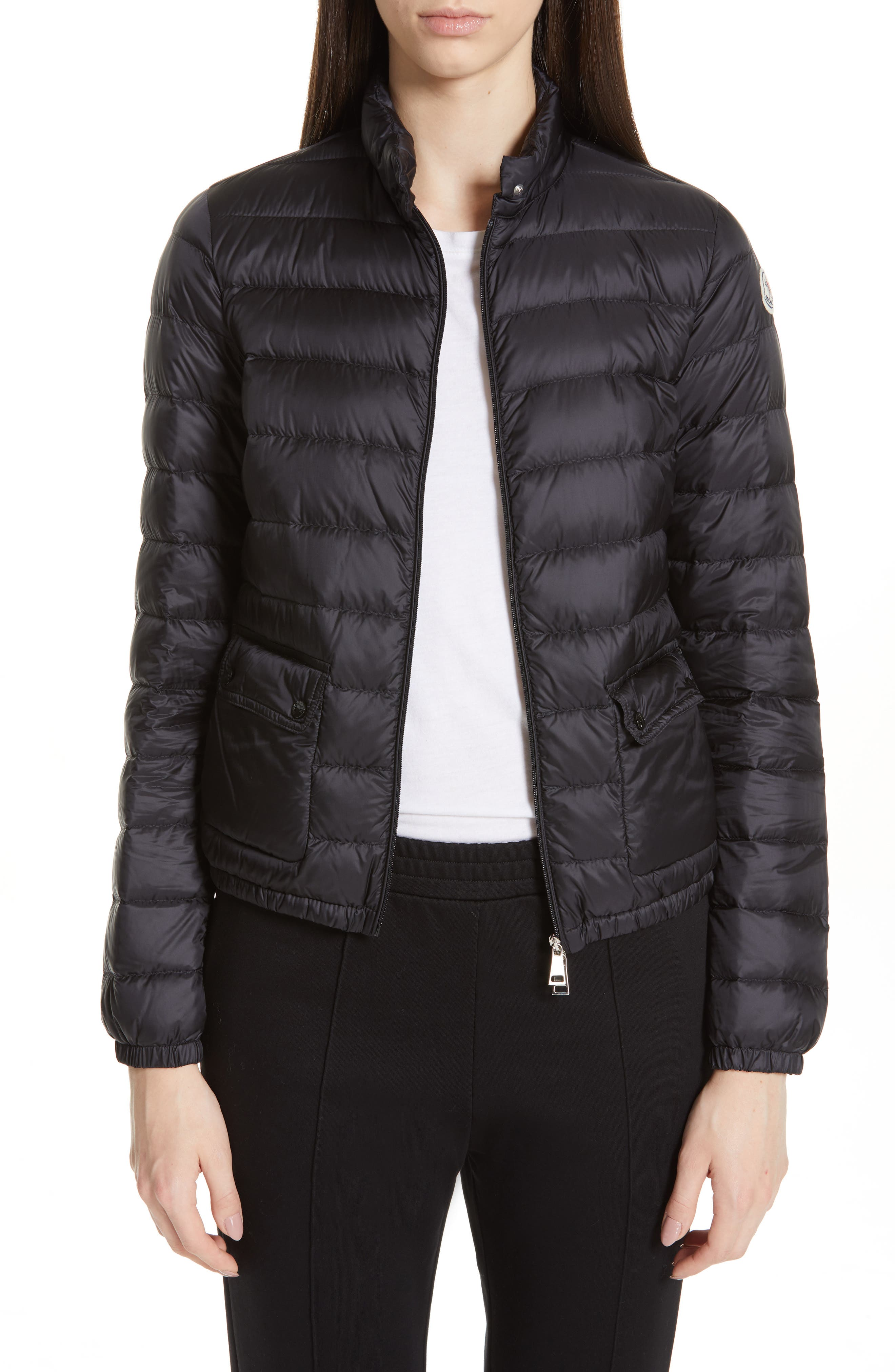 Moncler Lans Water Resistant Quilted Down Jacket, Black
