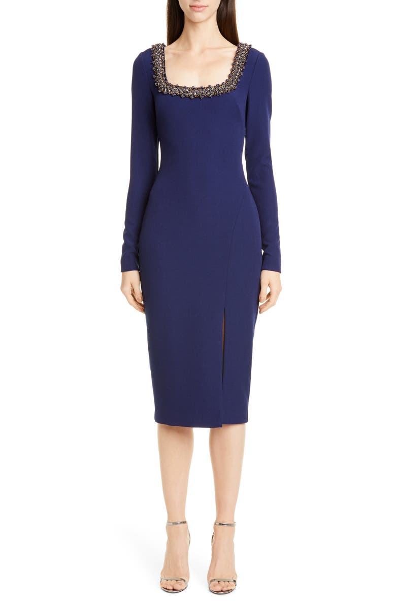 BADGLEY MISCHKA COLLECTION Badgley Mischka Embellished Long Sleeve Sheath Dress, Main, color, DARK SAPPHIRE