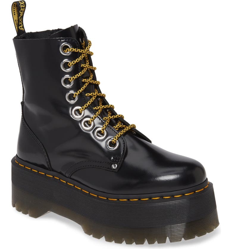 DR. MARTENS Jadon Max Platform Boot, Main, color, BLACK BUTTERO LEATHER