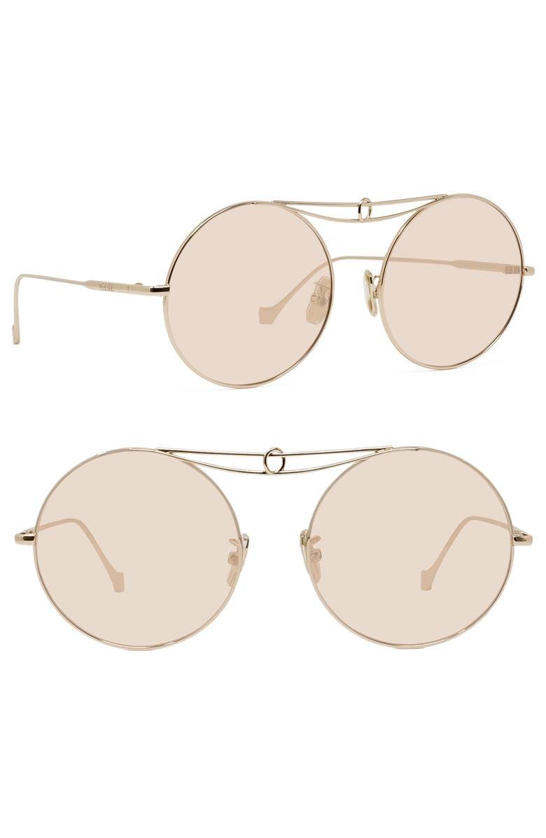 LOEWE 56mm Round Sunglasses, Main, color, ROSE GOLD/ LIGHT ROSE