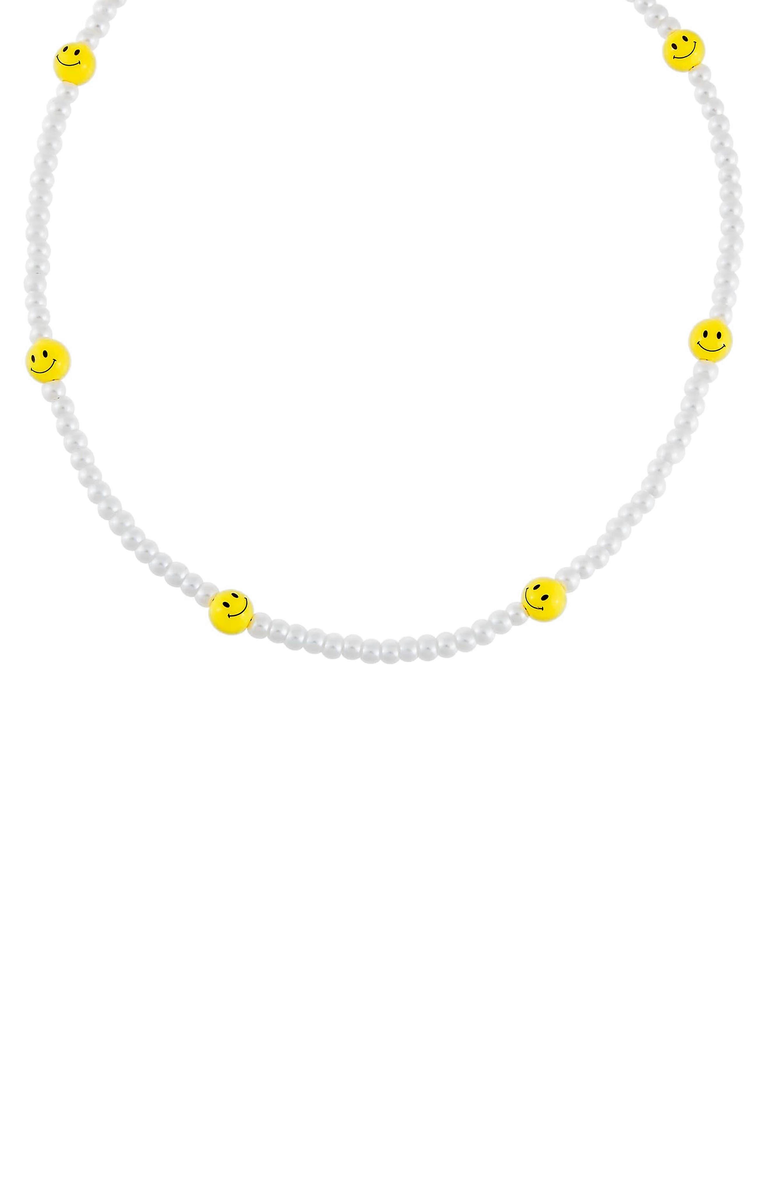 Women's Adina's Jewels Imitation Pearl Smiley Beaded Necklace