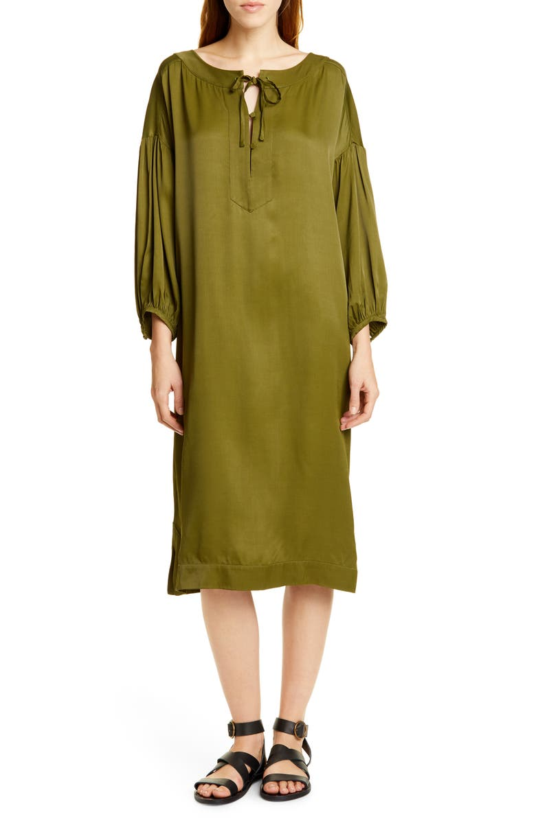 RODEBJER Sim Satin Midi Dress, Main, color, KHAKI GREEN